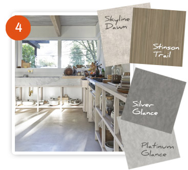 Skyline Dawn, Stinson Trail, Silver Glance, Platinum Glance - Great for kitchen design