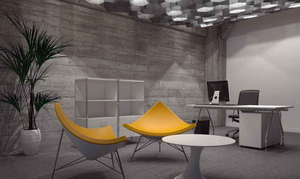 Interior of Modern Room Furnished with Contemporary Office and Sitting Furniture, Featuring Two Bright Yellow Chairs Around Small Round Table and Office Desk and Computer in Background. 3d Rendering